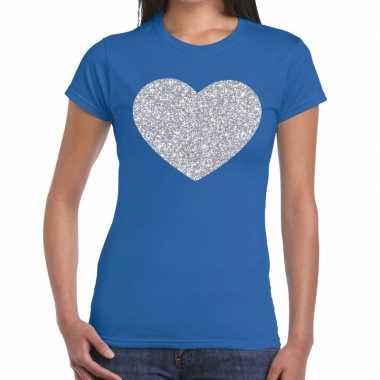 Zilveren hart glitter t shirt blauw dames kado