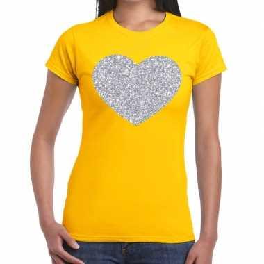 Zilveren hart glitter t shirt geel dames kado
