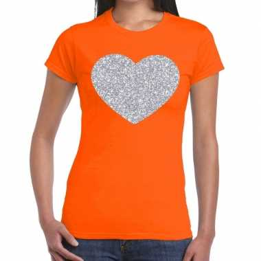 Zilveren hart glitter t shirt oranje dames kado