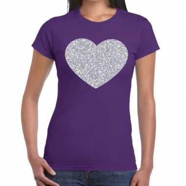 Zilveren hart glitter t shirt paars dames kado