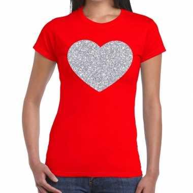 Zilveren hart glitter t shirt rood dames kado