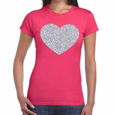 Zilveren hart glitter t shirt roze dames kado