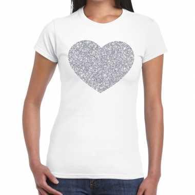 Zilveren hart glitter t shirt wit dames kado
