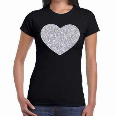 Zilveren hart glitter t shirt zwart dames kado