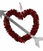 1x rood valentijn bruiloft hangdecoratie hart met pijl 45 cm kado