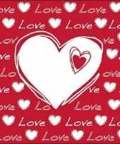 20x hartjes servetten met tekst love wit rood 33 x 33 cm kado