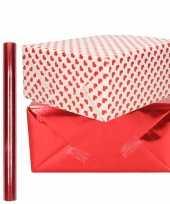 4x rollen kraft inpakpapier liefde rode hartjes pakket rood metallic 200 x 70 50 cm kado