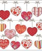 60x tafel diner lunch servetten 33 x 33 cm valentijn liefdes hartjes print kado
