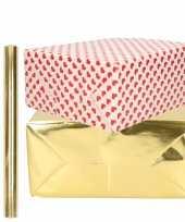 6x rollen kraft inpakpapier liefde rode hartjes pakket metallic goud 200 x 70 50 cm kado