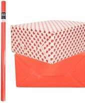 6x rollen kraft inpakpapier liefde rode hartjes pakket rood 200 x 70 cm kado