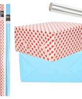 6x rollen kraft inpakpapier transparante folie hartjes pakket blauw harten design 200 x 70 cm kado
