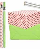 6x rollen kraft inpakpapier transparante folie hartjes pakket groen harten design 200 x 70 cm kado