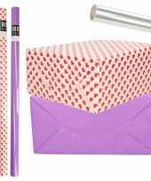 6x rollen kraft inpakpapier transparante folie hartjes pakket paars harten design 200 x 70 cm kado