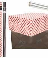 6x rollen kraft inpakpapier transparante folie hartjes pakket zwart harten design 200 x 70 cm kado