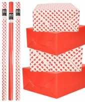 8x rollen kraft inpakpapier pakket rood wit met hartjes liefde valentijn 200 x 70 cm kado