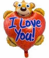 Folie ballon i love you teddybeer 80 cm met helium gevuld kado