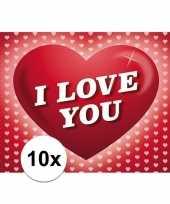 Valentijn 10x romantische valentijnskaart i love you met hartjes kado