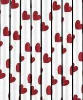 Valentijn 10x stuks rietjes met rode hartjes van papier kado