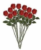 Valentijn 12x rode rozen kunstbloemen 45 cm kado