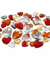 Valentijn 2x zakje hartjes strass steentjes rood mix totaal 720 stuks kado