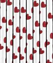 Valentijn 30x stuks rietjes met rode hartjes van papier kado