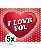 Valentijn 5x romantische valentijnskaart i love you met hartjes kado