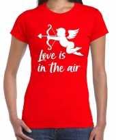 Valentijn cupido love is in the air t shirt rood voor dames kado