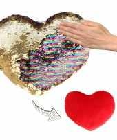 Valentijn hartjes kussen goud rood metallic met pailletten 30 cm kado