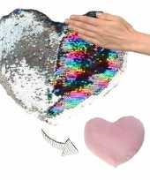 Valentijn hartjes kussen zilver roze metallic met pailletten 30 cm kado