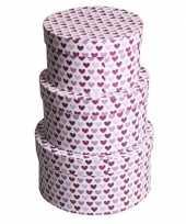 Valentijn rond kado doosje hartjes paars 14 cm