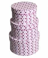 Valentijn rond kado doosje hartjes paars 16 cm