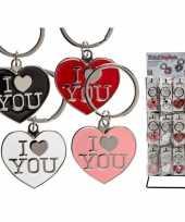 Valentijn roze hartjes sleutelhanger i love you kado