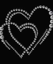 Valentijn stickers strass dubbel hart kado