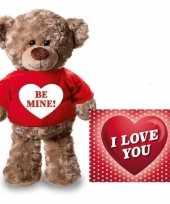Valentijn valentijnskaart en knuffelbeer 24 cm be mine rood shirt kado