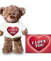 Valentijn valentijnskaart en knuffelbeer 24 cm met i love you hartje shirt kado