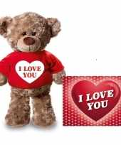 Valentijn valentijnskaart en knuffelbeer 24 cm met i love you rood shirt kado
