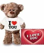 Valentijn valentijnskaart en knuffelbeer 24 cm met i love you shirt kado