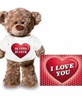 Valentijn valentijnskaart en knuffelbeer 24 cm met ik vind je leuk shirt kado