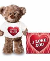 Valentijn valentijnskaart en knuffelbeer 24 cm met ik vind je lief shirt kado